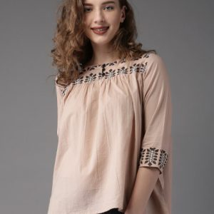 Moda Rapido Women Peach-Coloured Boxy Fit Top