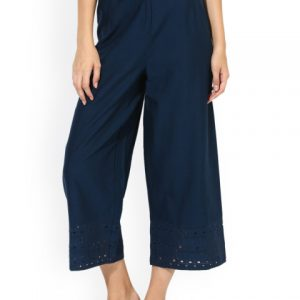 Juniper Women Navy Blue Straight Solid Palazzos