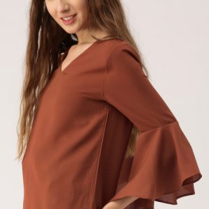 DressBerry Women Rust Brown Solid Top
