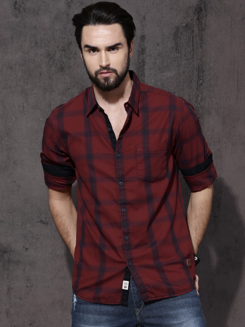 5df2051a6ea0 Roadster Men Red Regular Fit Checked Casual Shirt – Dashing BD